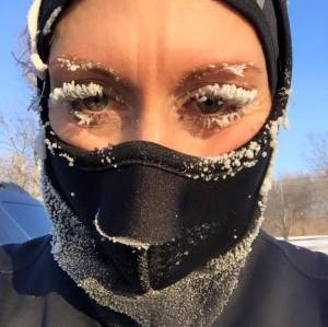 Stephanie Funkhouser would not have the problem of frozen eyelashes if she could be a polar bear!