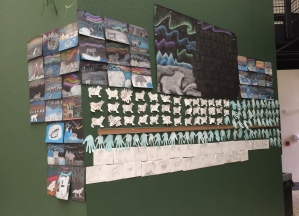 environmental art students' work on polar bears.  Photo and poster by Jason Duffield