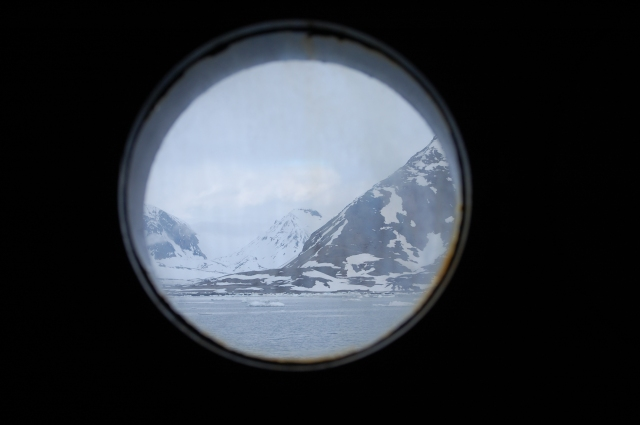 midnight view from my sleeping cabin's porthole window