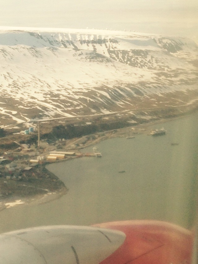 First sight of Longyearbyen from airplane