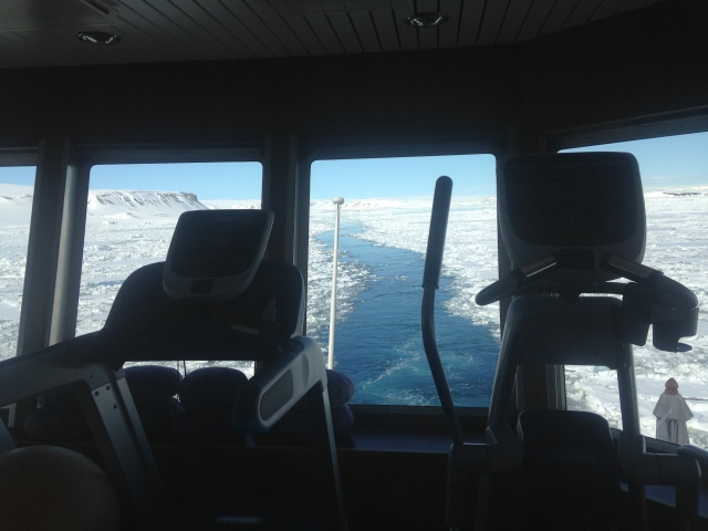 Great treadmill view as the icebreaker ship traveled through sea ice!