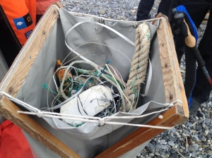 Instead of hiking, expedition guests picked up the litter that washed up on the arctic beach from the Gulf currents.